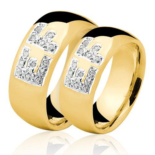 Alianças de Ouro 18k/750 com Diamantes AL146