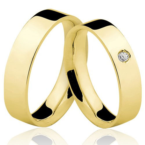Alianças de Ouro 18k/750 com Diamante AL72