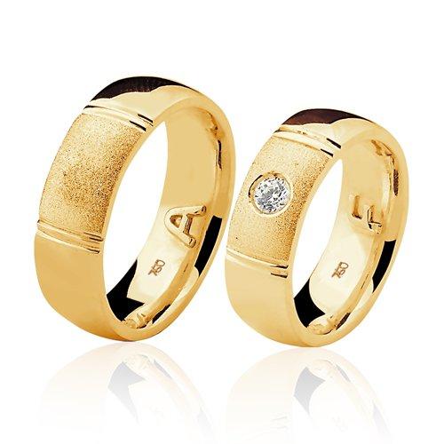 Alianças de Ouro 18k/750 com Diamante AL79