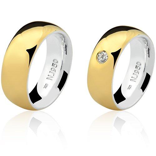 Par de Aliança Casamento/Noivado Mista em Ouro 18k/750 e Prata 950 AL154