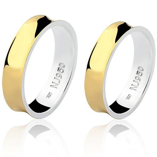 Par de Aliança Casamento/Noivado Mista em Ouro 18k/750 e Prata 950 AL155