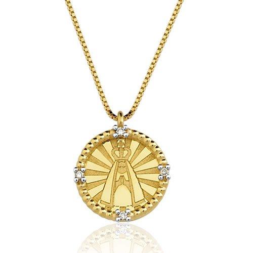Gargantilha Nossa Senhora Aparecida de Ouro 18k com Brilhantes
