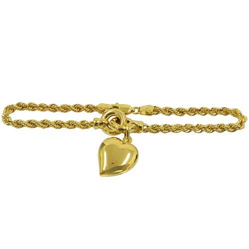 Pulseira em Ouro Modelo Corda com Pingente Coração