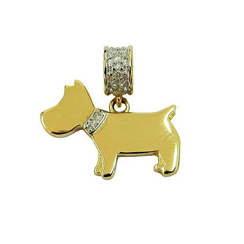 Pingente Cachorro em Ouro 18K com Brilhantes