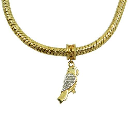 Pingente em Ouro 18k Papagaio com Brilhantes