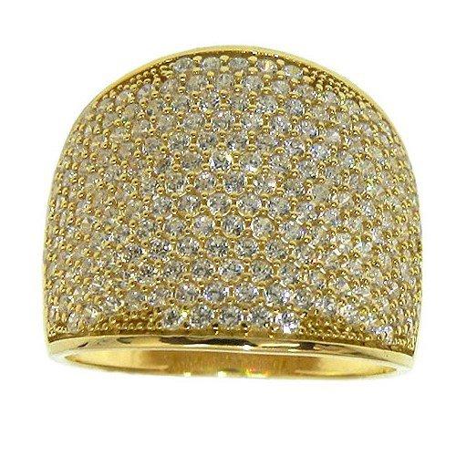 Anel de Ouro com pavê de Zircônias
