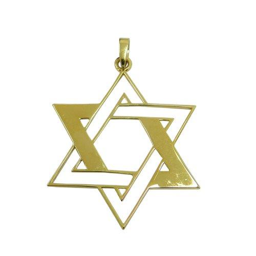 Pingente em Ouro 18k Estrela de Davi Vazado Grande