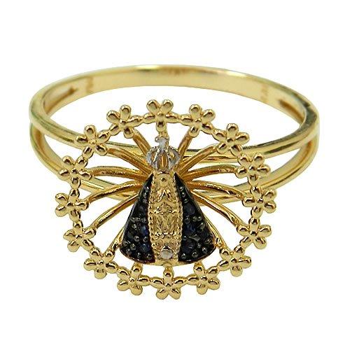 Anel Nossa Senhora Aparecida de Ouro com Safiras Naturais