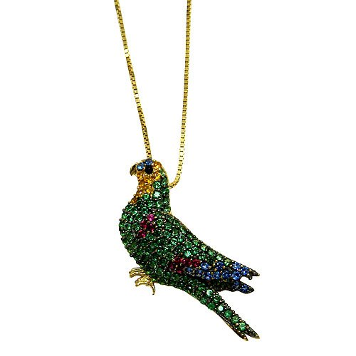 Pingente de Ouro 18K Papagaio com Zircônias Coloridas