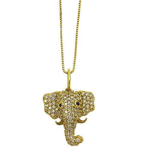 Gargantilha Elefante em Ouro 18K com Brilhantes Sintéticos