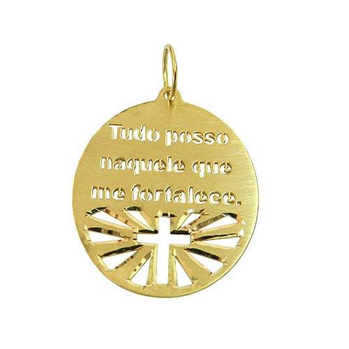 Medalha Tudo posso naquele que me fortalece em Ouro 18k