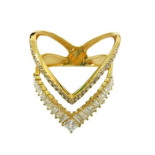 Anel em Ouro 18k Feminino Vazado com Zircônias