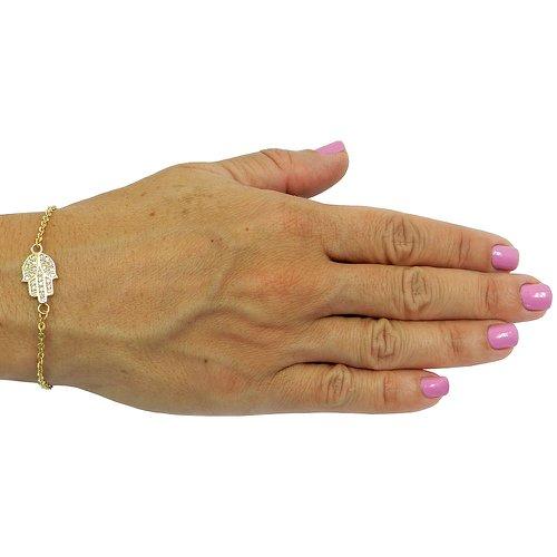 Pulseira Mão de Hamsá em Ouro Cravejada com Safiras Brancas