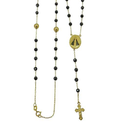 Terço Religioso em Ouro 18k com Hematitas