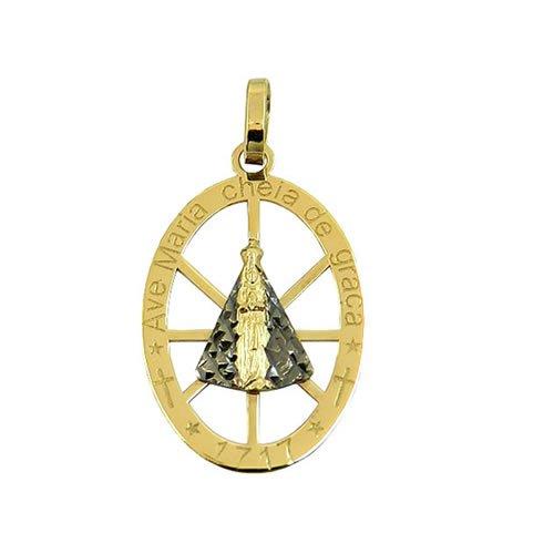 Medalha Ave Maria com N. Sra Aparecida em Ouro 18k