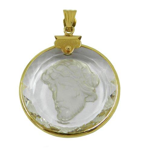 Pingente de Ouro 18k 0,750 com Cristal de Jesus