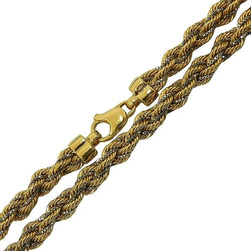 Corrente Corda em Ouro 18k 0,750 Branco e Amarelo