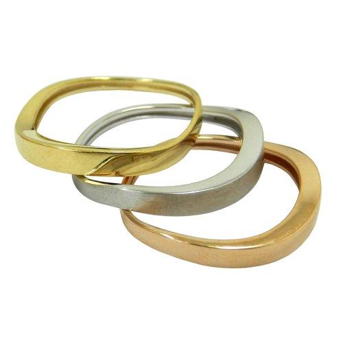 Conjunto de Anéis em Ouro Amarelo Branco e Rosê 18k