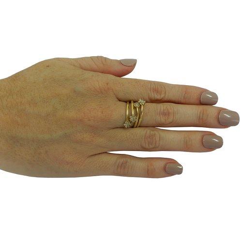 Anel em Ouro 18k Regulável com Diamantes