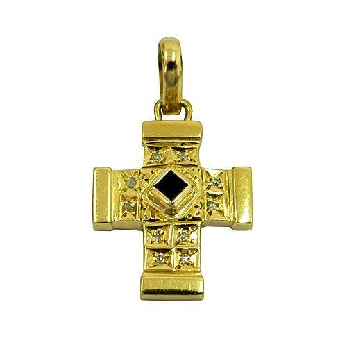 Cruz de Ouro com Brilhantes e Safira Azul