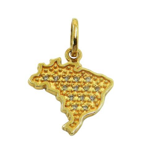 Pingente em ouro 18k Mapa do Brasil com Brilhantes