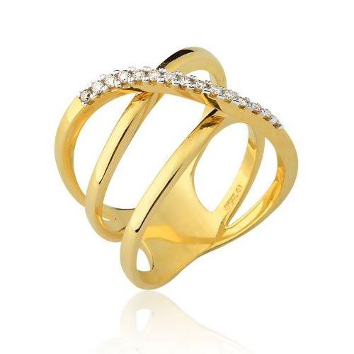 Anel Três Aros em Ouro 18K com Diamantes