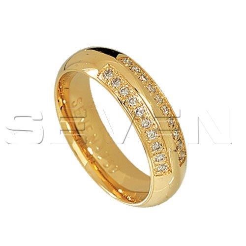 Aliança Anatômica de Ouro 18K com Diamantes