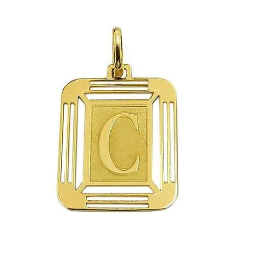 Pingente Medalha Letra C em Ouro 18K