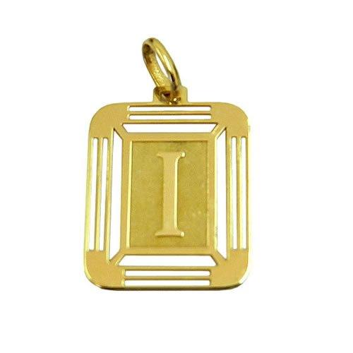Pingente Quadrado com Letra I em Ouro 18K 750