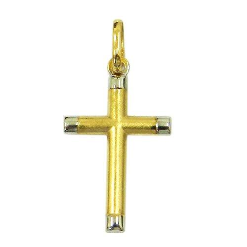 Pingente Cruz em Ouro Branco e Ouro Amarelo