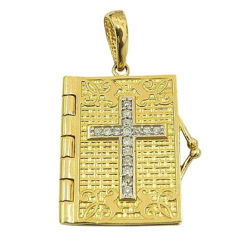 Pingente Bíblia O Senhor é o meu Pastor em Ouro 18K com 16 Brilhantes