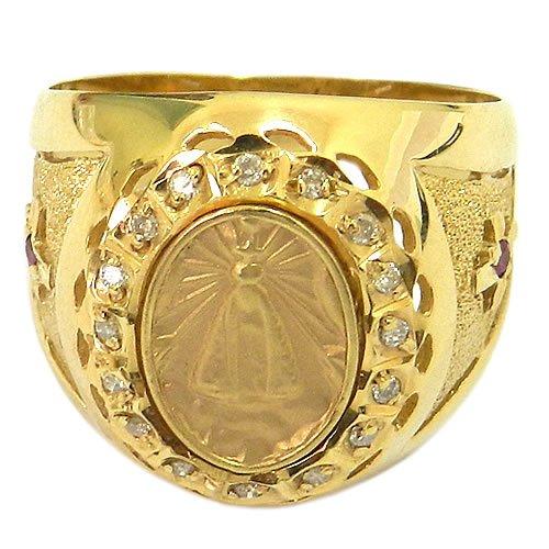 Anel Nossa Senhora Aparecida em Ouro com 16 Brilhantes e 2 Rubis