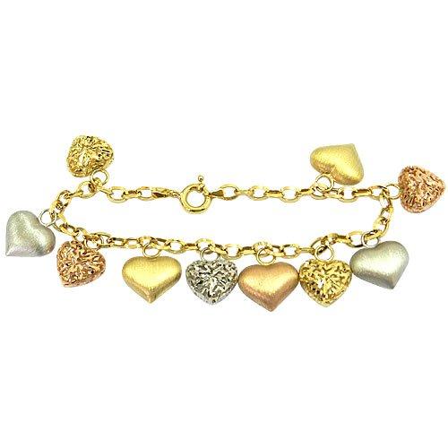 Pulseira Berloque de Corações em Ouro Branco, Amarelo e Rosê