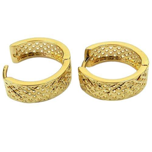 Brinco de Argola Click em Ouro 18K Diamantado