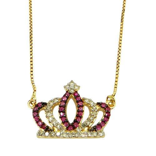 Gargantilha de Coroa em Ouro 18K com Brilhantes e Rubis