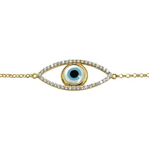 Pulseira Feminina de Olho Grego Ouro 18k com Zircônia