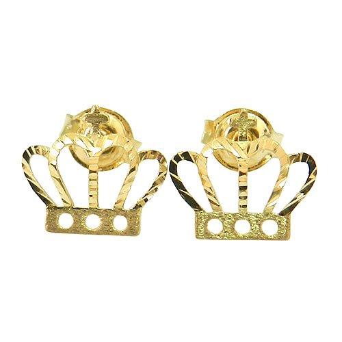 Brinco Coroa de Princesa Ouro 18K Diamantado