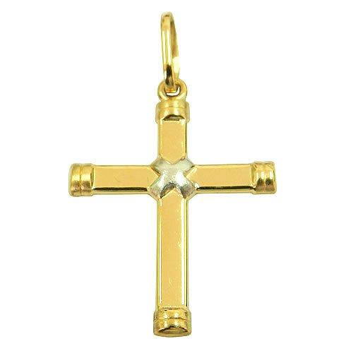 Pingente Crucifixo de Ouro Branco e Ouro Amarelo 18K