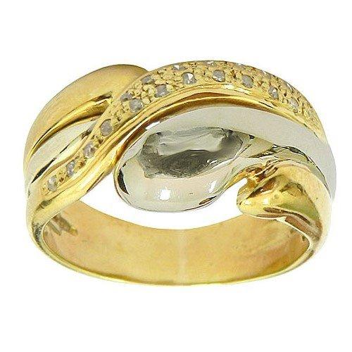Anel de Ouro Branco e Amarelo 18k cravejado com Diamantes
