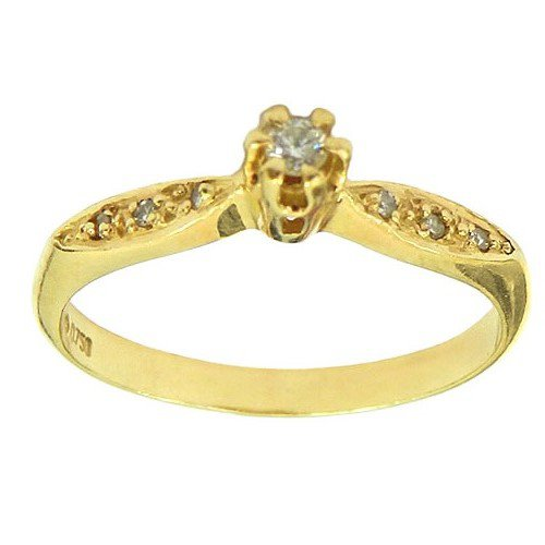 Lindos Anéis Solitários de Ouro 18K com Brilhantes