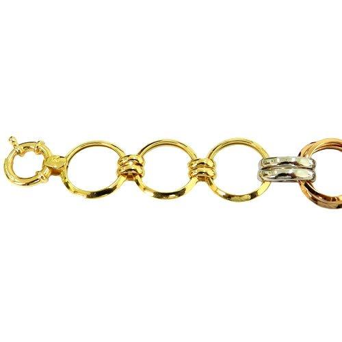 Pulseira Três Tons de Ouro 18K Feminina