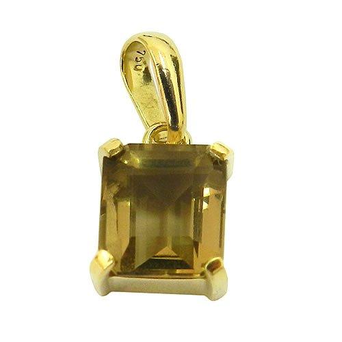 Pingente Solitário de Ouro 18K com Quartzo Fumê