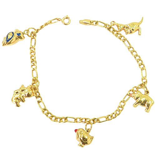 Pulseira em ouro feminina com pingentes