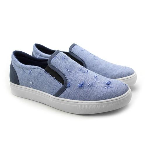 Slip On Yate Masculino Stratus Eco em Lona - Azul Jeans Destroid