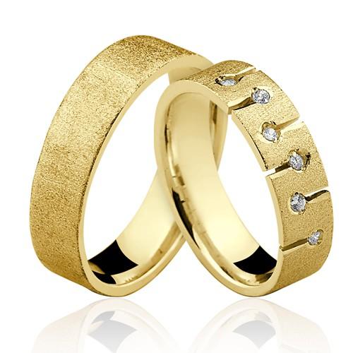 Alianças de Ouro 18k/750 com Diamantes AL106