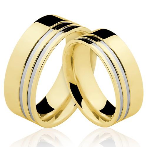 Alianças de Ouro 18k/750 Com Filete de Ouro Branco AL113