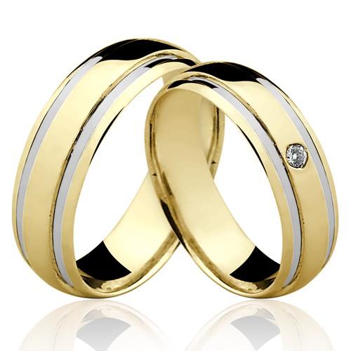 Alianças de Ouro 18k/750 com Diamante AL120