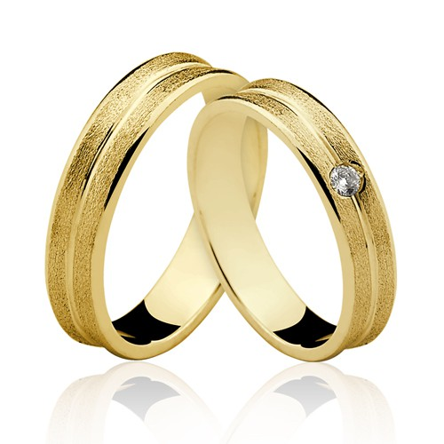 Alianças de Ouro 18k/750 Com Pedra de Diamante AL125