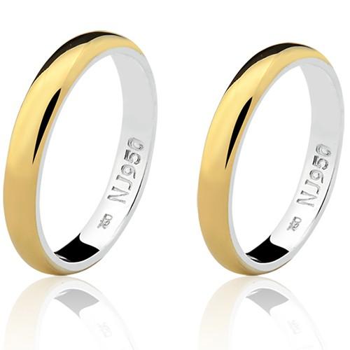 Par de Aliança Casamento/Noivado Mista em Ouro 18k/750 e Prata 950 AL152