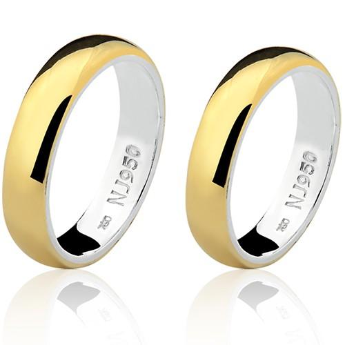 Par de Aliança Casamento/Noivado Mista em Ouro 18k/750 e Prata 950 AL153